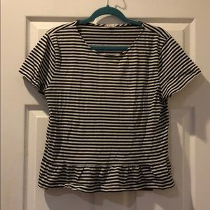 J. Crew Striped Tee Shirt with Peplum Detail
